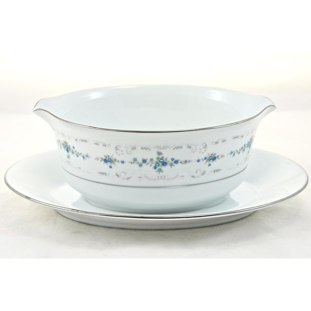 Noritake Silver & Blue Floral Dinner Service- 77 PIeces For Sale In Chicago - Image 6 of 8