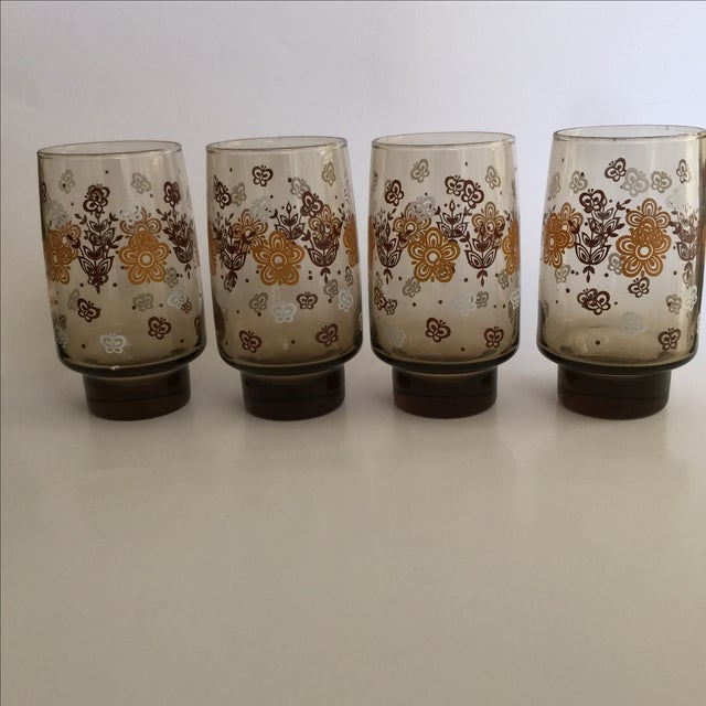 Mid-century Smoky Butterfly Glasses - Set of 8 - Image 5 of 9
