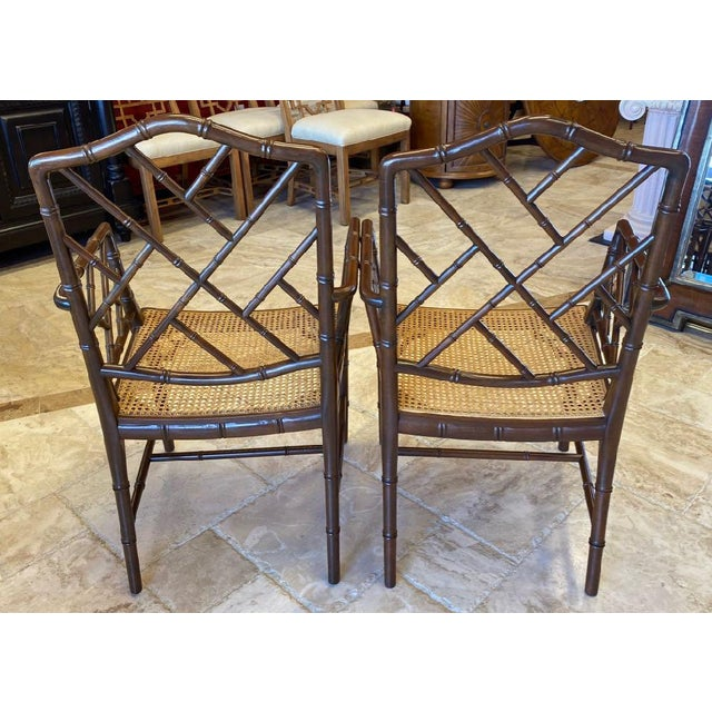 McGuire Vintage Chinese Chippendale Faux Bamboo Armchairs or Host & Hostess Chairs - a Pair For Sale - Image 4 of 11