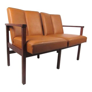 Mid-Century Modern Vinyl and Walnut Settee For Sale