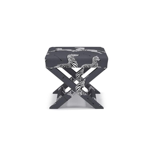 The Inside Scalamandre X Bench in Slate Zebra For Sale - Image 4 of 4
