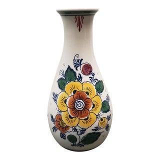 Vintage Circa 1960 Dutch Delft Porcelain Polychrome Floral Motif Baluster Vase For Sale