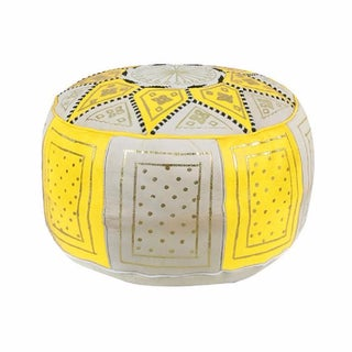 Fes Yellow Leather Pouf For Sale