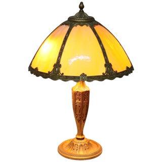 Arts & Crafts Bradley & Hubbard School Bent Slag Glass Table Lamp, Circa 1920 For Sale