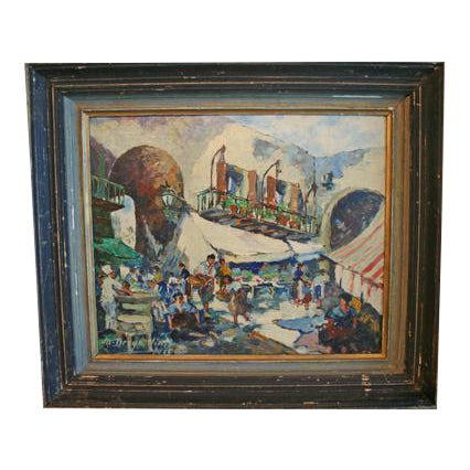 Oil on Board Painting of French Market, Signed Lower Left For Sale