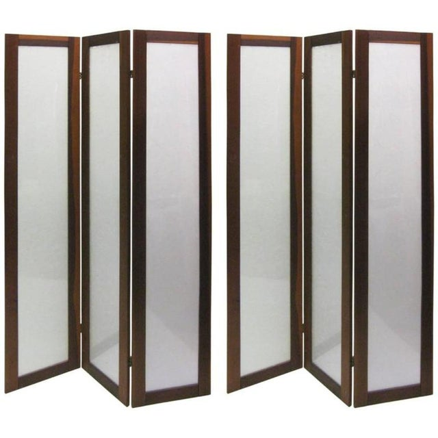 Pair of Textured Fiberglass and Teak Folding Screens For Sale - Image 5 of 5