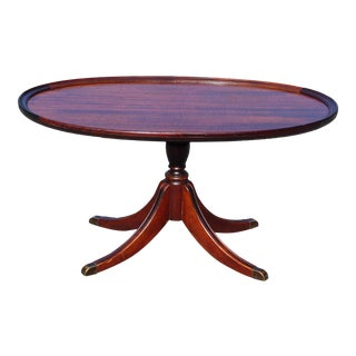 Vintage Mahogany Oval Federal Duncan Phyfe Style Pedestal Cocktail Coffee Table For Sale