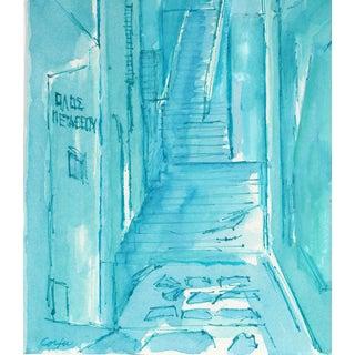 """Street in Corfu"" Ink on Paper in Blue For Sale"