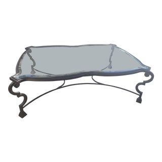 20th Century Traditional Grand Scale Luxe Iron and Clear Glass Coffee Table For Sale