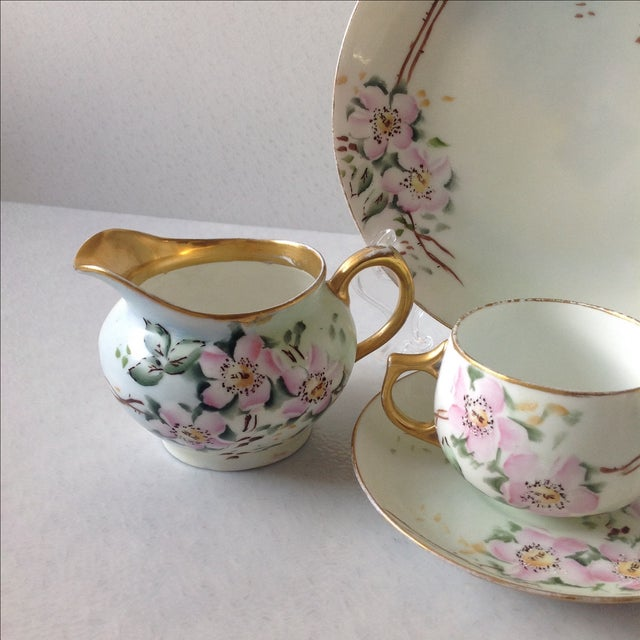 Antique Wild Rose Bavaria Porcelain Dishes - S/29 For Sale - Image 5 of 9