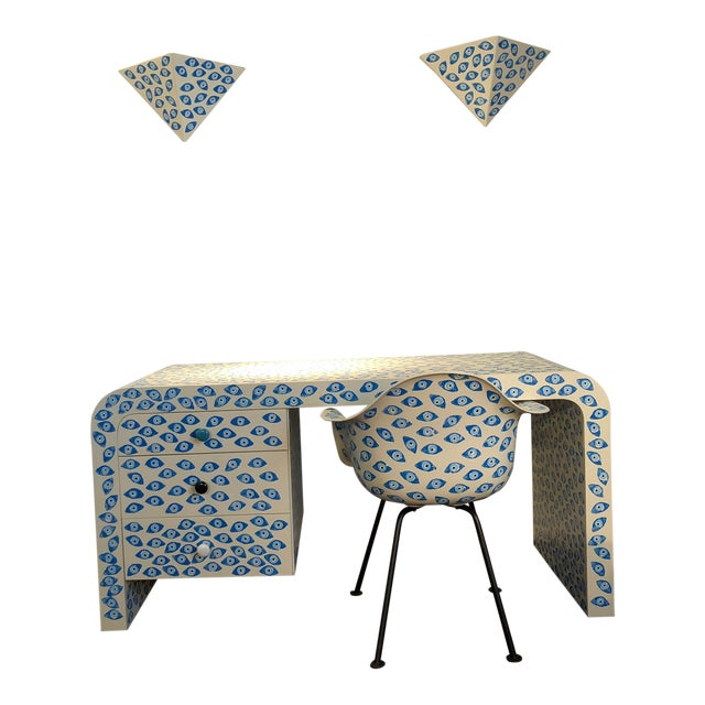 1960s Mid-Century Modern Karl Springer Waterfall Desk With Eames Zenith Chair and Sconces Evil Eye Set - 4 Pieces For Sale