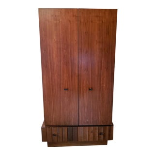Modern Solid Walnut Armoire For Sale
