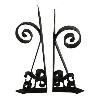 1950s Vintage Scroll Design Cast Iron Corbels- A Pair For Sale