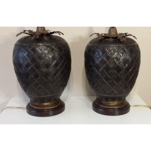 1990s John Richard Brass Table Lamps - A Pair For Sale - Image 5 of 8