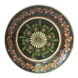 19th Large French Pottery Savoie Floral Platter For Sale