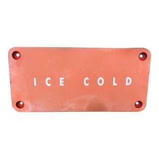Vintage Red Faded Rustic Ice Cold Metal Sign For Sale