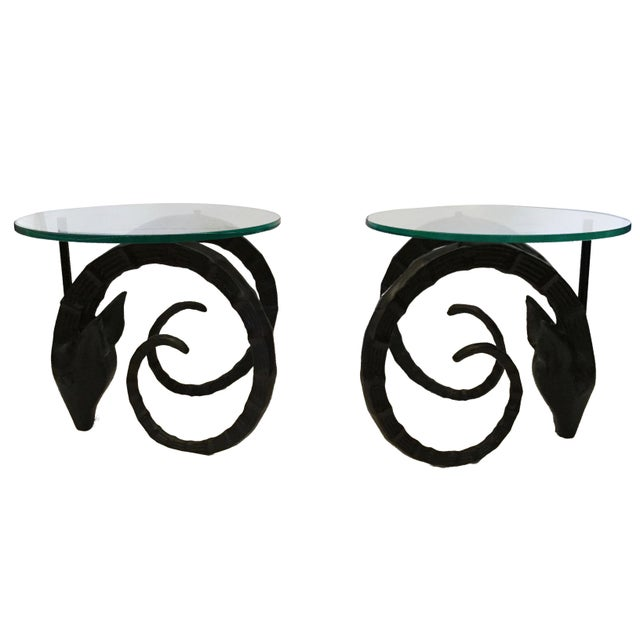 Boho Chic 20th Century Boho Chic Aluminum Ram Side Tables - a Pair For Sale - Image 3 of 7