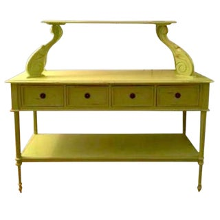 Rustic Chartreuse Tiered Console Table For Sale
