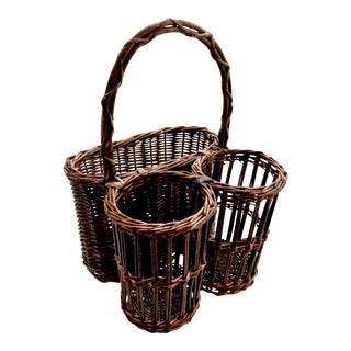 Vintage Rattan and Wicker Wine and Picnic Basket For Sale