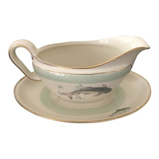 1960s Vintage Thomas Porcelain Fish Design Gravy Boat With Plate - 2 Pc. Set For Sale