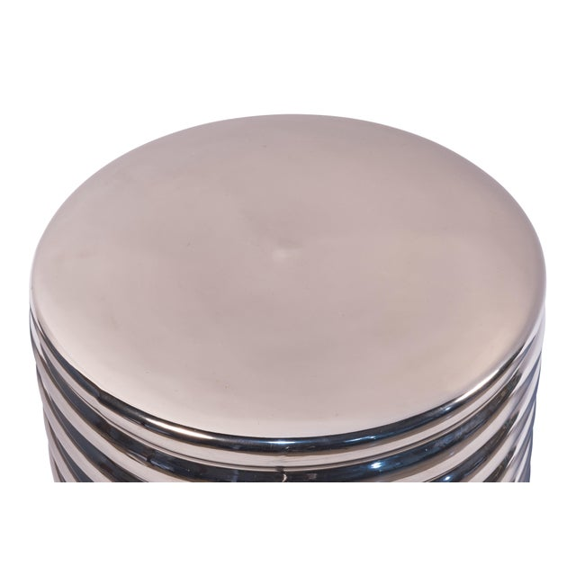 High Fired Stoneware, Hollow Inside - Metallic Silver Glaze, Open Base stool / side table by Sarreid Ltd. 8 available,...