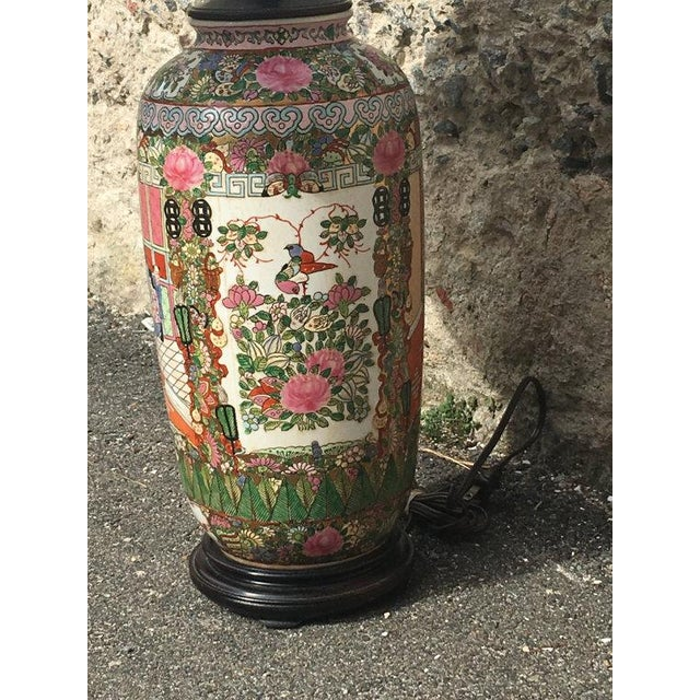 Vintage Chinoiserie Hand-Painted Accent Lamp - Image 3 of 6