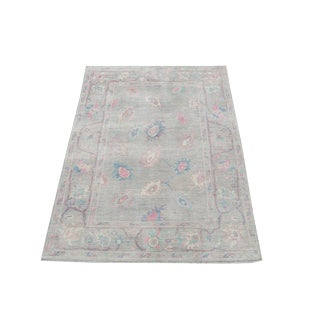 "Afghan Mahal Sultanabad Design Gray and Pink Rug - 6'5""x9'2"" For Sale"
