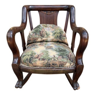 Vintage Victorian Style Upholstered Rocking Chair For Sale