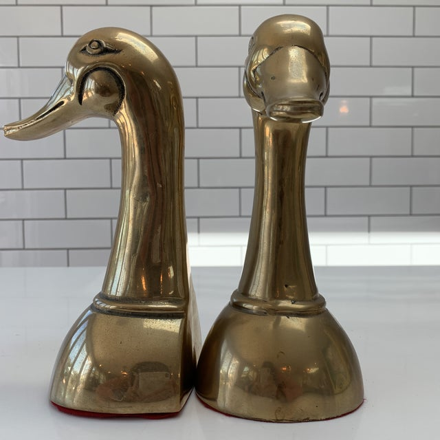 These are vintage heavy brass mid century modern mallard duck book ends. They are very large and heavy and about 3x the...