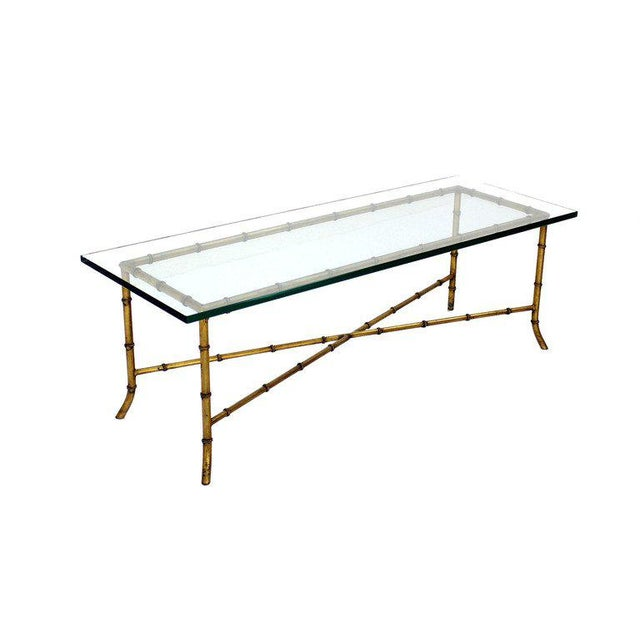 X Base Rectangular Mid Century Modern Gilt Faux Bamboo Glass Top Coffee Table For Sale - Image 9 of 9
