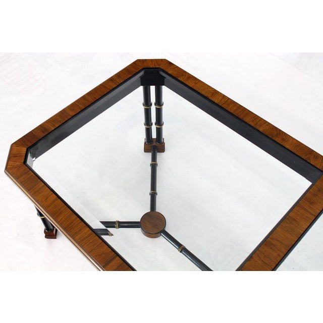 1980s Rosewood Black Lacquer Rectangular Faux Bamboo Coffee Table Beveled Glass Top For Sale - Image 5 of 11