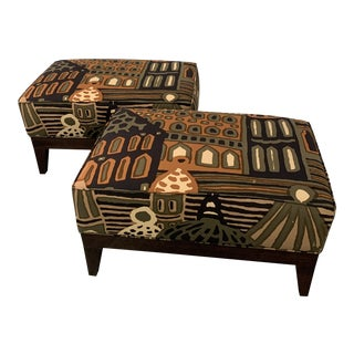 Vintage Mid-Century Ottomans With Rare Fabric - a Pair For Sale