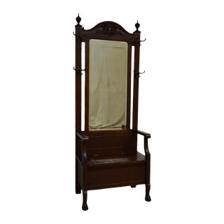 Antique Oak Hall Tree W. Mirror Rack Seat Bench Stand For Sale