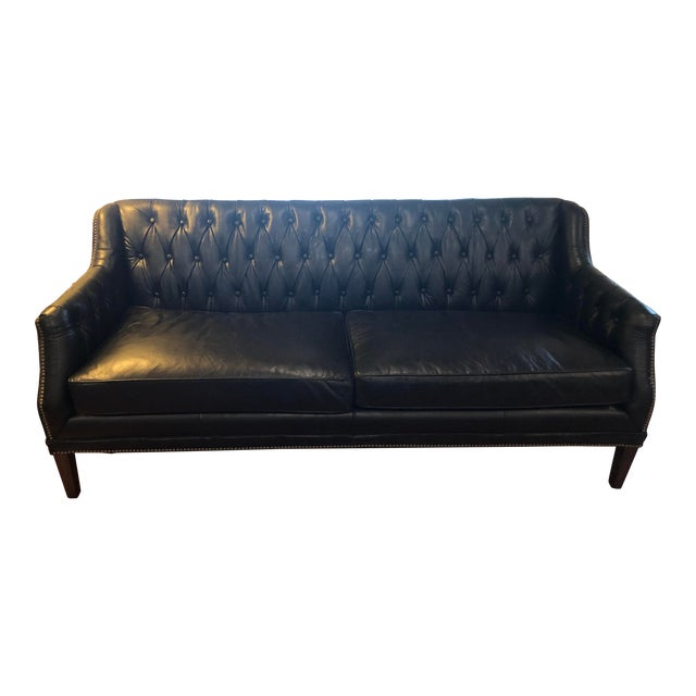 Schoolhouse Electric Black Leather Sofa With Nailhead Trim- Brand ...