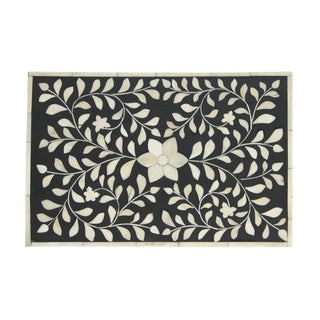 Bone Inlay Box - Black Floral For Sale
