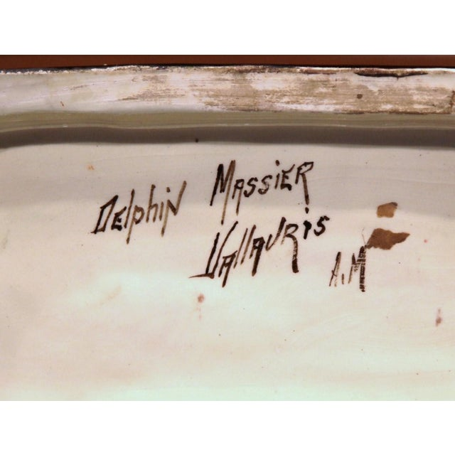 19th Century French Hand-Painted Barbotine Jardinière, Signed D. Massier For Sale - Image 9 of 11