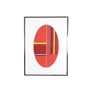 "1980s Ilya Bolotowsky ""Scarlet Elipse"" Limited Edition Screen Print For Sale"