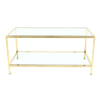 Solid Brass Square Tube Rectanglar Coffee Table For Sale