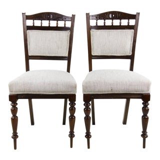 19th C. Italian Walnut Pin Stripe Upholstered Side Chairs - a Pair For Sale