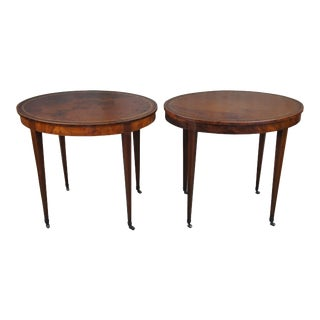 Baker Tooled Leather Top Oval Drum Tables - a Pair For Sale