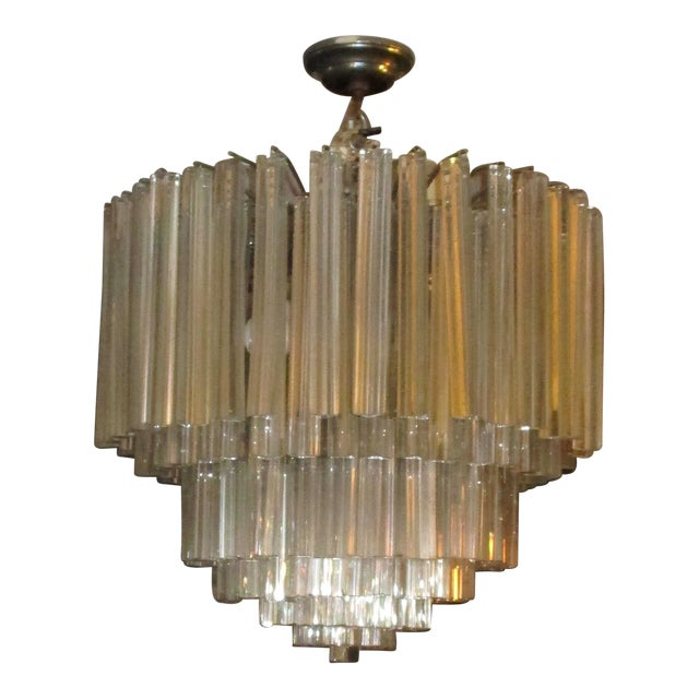 1960's Chrome and Crystal Drops Chandelier For Sale