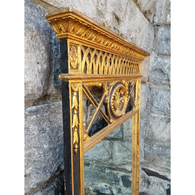Giltwood Italian Neoclassical Empire Style Giltwood Large Mirror For Sale - Image 7 of 11