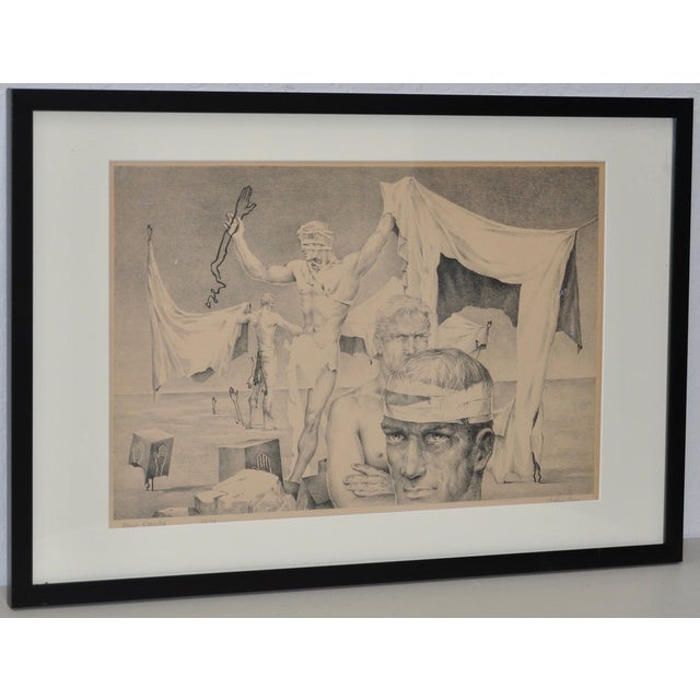 John B. Lear Surreal Male Lithograph c.1940s Rare and extraordinary pencil signed lithograph by noted artist John B. Lear...