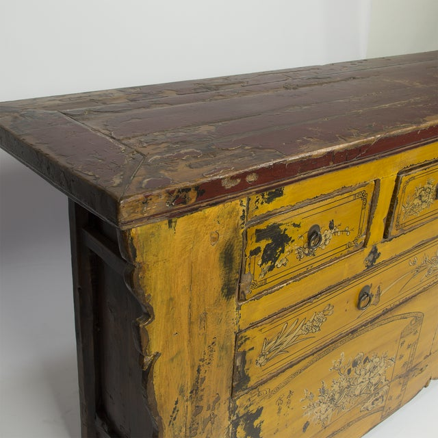 Antique Yellow Red Carved Cabinet - Image 3 of 4