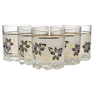 Frosted Black & Gilt Glass Tumblers, Set of 5 For Sale