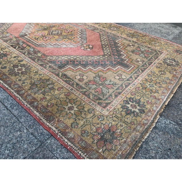 Textile Handwoven Antique Turkish Wool Rug - 3′7″ × 5′11″ For Sale - Image 7 of 10