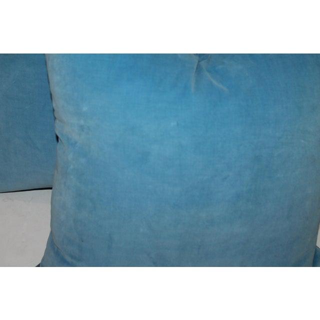 Pair of Light Blue Velvet Pillows For Sale - Image 4 of 4