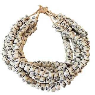 African Faceted Trade Bone Beads - Set of 5 For Sale