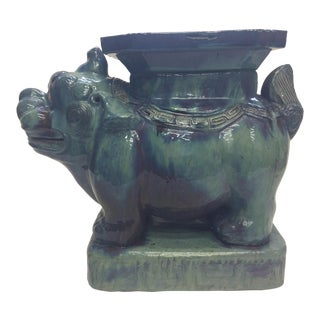Asian Turquoise Foo Dog Garden Seat For Sale