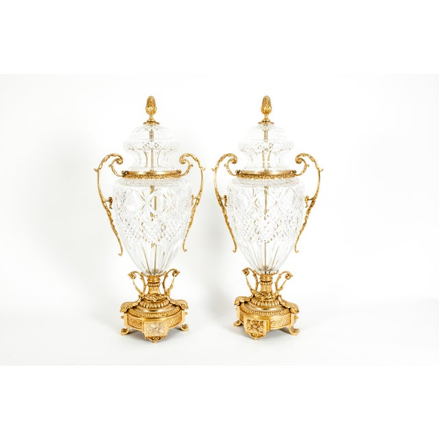 Regency Footed Gilt Bronze-Mounted / Cut Crystal Urns - a Pair For Sale - Image 3 of 13